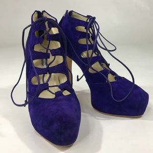 Brian Atwood Violet Adara Suede Lace Up Platforms